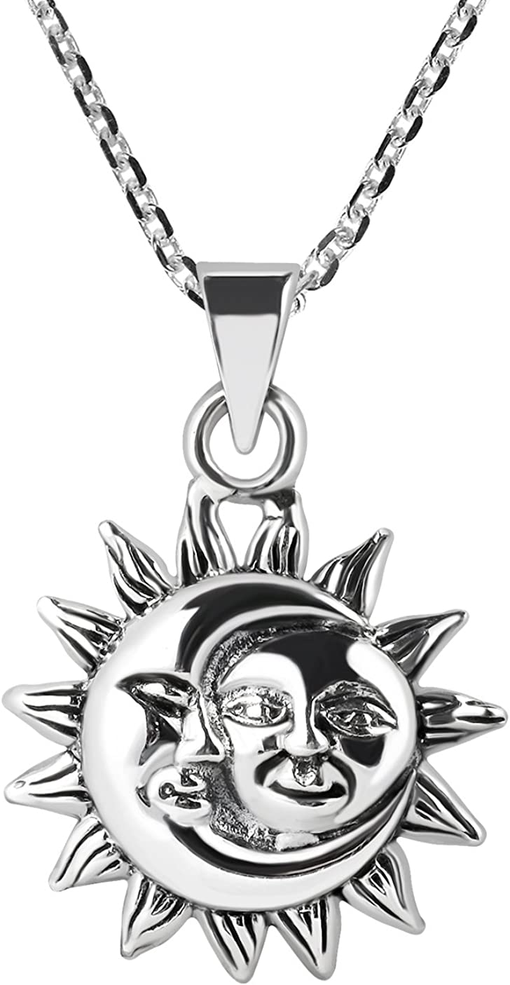AeraVida Glinting Celestial Sun and Moon .925 Sterling Silver Pendant Necklace