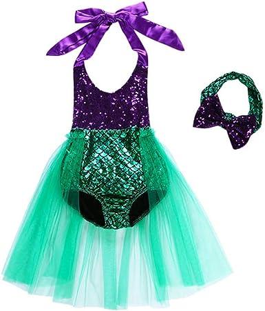LiiYii Kids Baby Girls One Piece Mermaid Bathing Suit Pool Party Sequins Swimsuit Toddler Swimwear