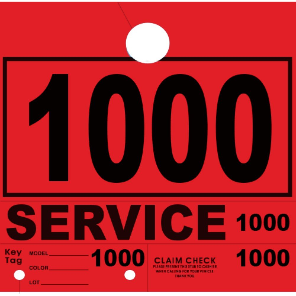 Versa-Tags Service Department Hang Tags Window Tag, Red, Numbers 1000-1999 (1000 Pieces Per Box)