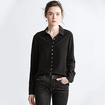 XCXDX Elegante Camisa De Seda Negra, Monos Básicos, Top De Manga Larga, Blusa De Señora De Oficina: Amazon.es: Deportes y aire libre