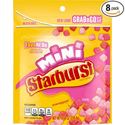 Amazon.com : STARBURST FaveREDS Minis Fruit Chews Candy, 8 ounce ...