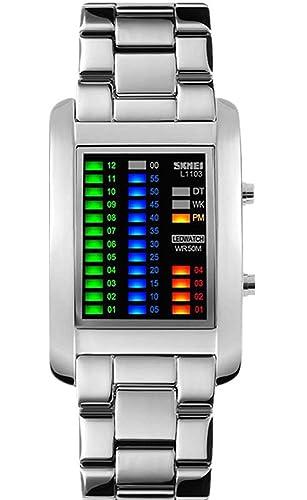 Los hombres de Creative Binary Matrix azul LED Digital resistente al agua reloj militar de acero inoxidable plata relojes: Amazon.es: Relojes