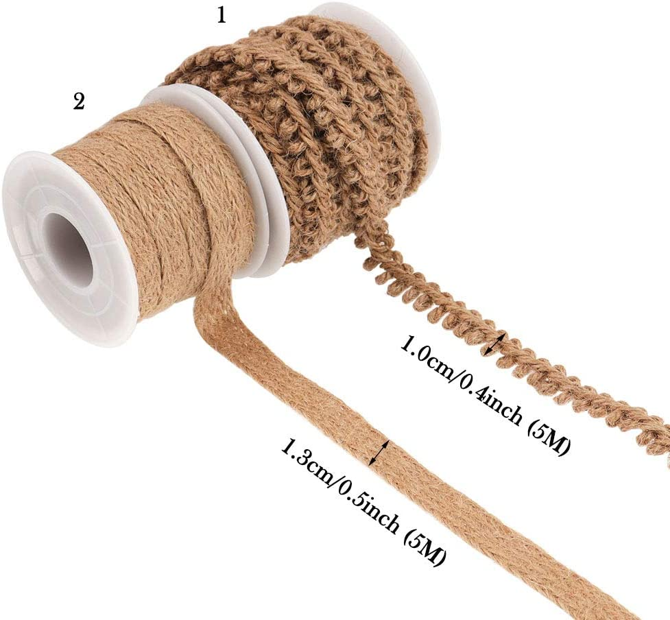 33 Feet Garden Artworks and Crafts Wedding Decoration NogaMoga 2 Rolls 12mm//15mm Wide Decorative Burlap Braided Hemp Rope for DIY Crafts Home Natural Burlap Ribbon