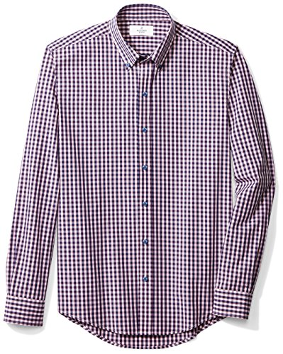 Buttoned Down Men's Slim Fit Button-Collar Sport Shirt, Navy/Berry Check, L 34/35