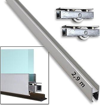 Kit perfil en H (aluminio 2,90 M + 8 ruedas para montaje en ventana correderas riel de guía (30337 + 30321 X 8): Amazon.es: Bricolaje y herramientas
