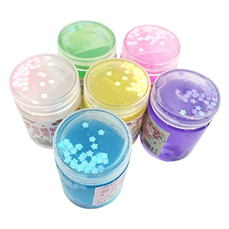 Amazon Com Wenjuan 6pack Fluffy Slime Supplies Non Sticky
