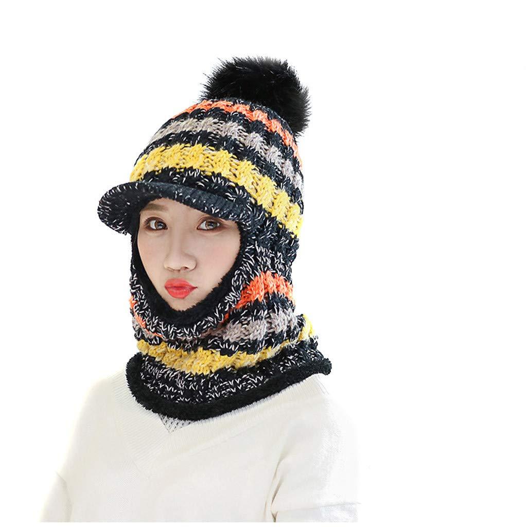 Multi Metallic Thread Knit Slouchy Beanie with Pom Pom Beret Winter Ski Warm Hat