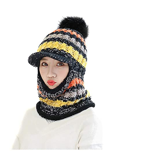 1a5ee8f7e91e6 Atezch Fleece Lined Women Knit Beanie Earflap Pompom Girls Winter Ski Hat  with Scarf at Amazon Women s Clothing store