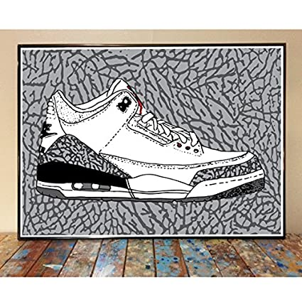 watch 51390 5fb7f Image Unavailable. Image not available for. Color  Air Jordan 3 Sneaker Art  Print (White Cement)