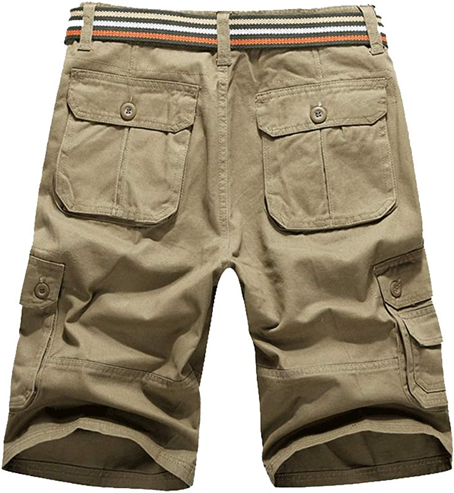 IDEALSANXUN Mens Casual Loose Fit Multi-Pockets Military Cargo Shorts