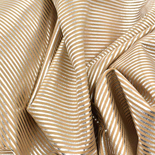 Calfskin Metallic Leather (Fashion Leather Calf Hide 4.3 SF Metallic Silver Caramel 1 oz Embossed Stripes-5)