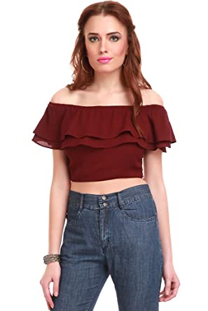 27b617bf17 SASSAFRAS Women's Cropped Maroon Top: Amazon.in: Clothing & Accessories