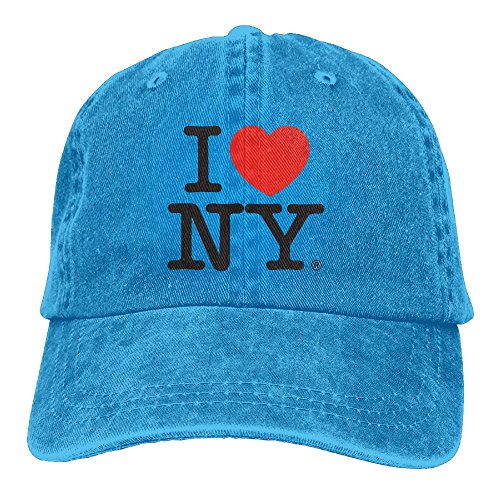 I Love New York Casual Denim Baseball Cap Peaked Cap Hat Adjustable Sport Trucker Cap For Men Women Unisex