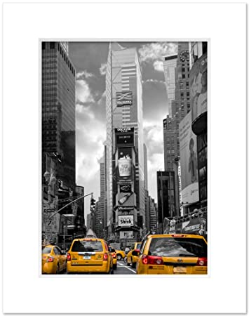 Amazon com ny poster inc times square south black and white yellow cabs new york 11 x 14 inch art giclee photo print matted posters prints