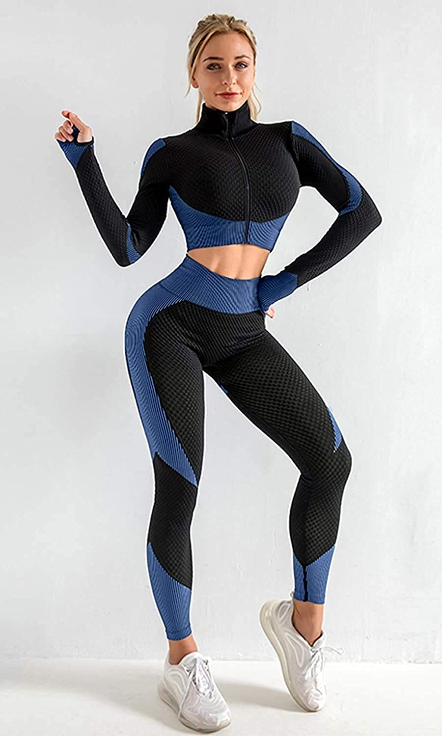 Womens Yoga Clothes 2 Piece Tracksuit Outfits Seamless High Waist Leggings and Long Sleeve Crop Top Yoga Sweatsuit Set for Workout at Home