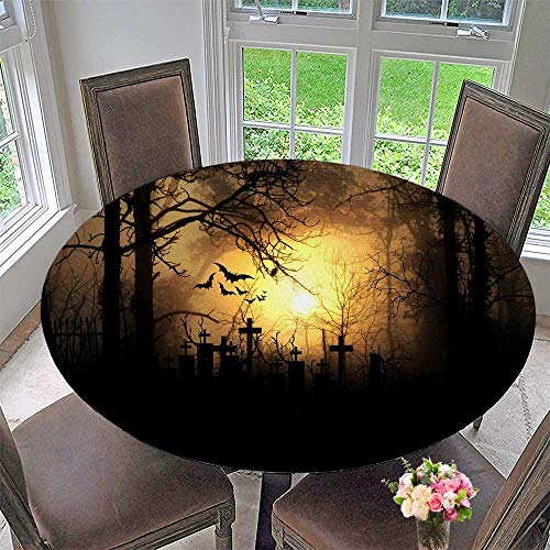 Mikihome Round Premium Table Cloth Halloween Night Illuminate The Graveyard Perfect for Indoor, Outdoor 31.5