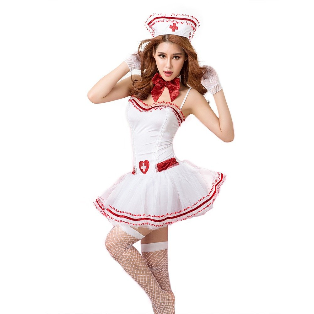 HHF Pijamas y Ropa de dormir Sexy de Enfermera Uniforme de Sexy la Mujer Uniforme Emocional Tentación 7 Puntos Conjunto Traje de Enfermera Guantes de Una Pieza T Volver Adorno para el pelo e7b837