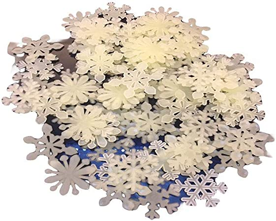 50pcs Stickers Muraux Enfants Flocon de Neige Phosphorescent 3D Autocollants Lumineux Brille Decoration Murale No/ël pour B/éb/é Enfant Adulte Chambre Maison Salon I Interrupteur