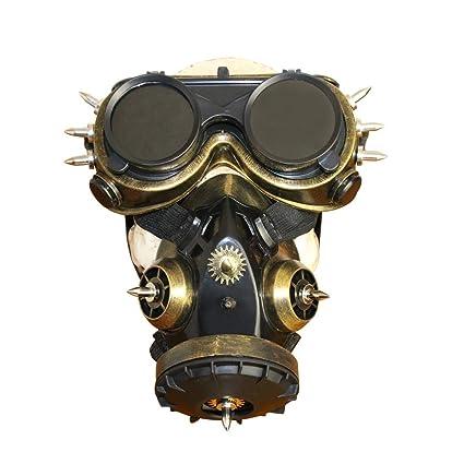 Fepelasi Cosplay Disfraz de Halloween Props Biohazard Steampunk Máscara de Gas Máscara Espigas Esqueleto Guerrero Máscara