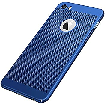 GerTong iPhone 5 5S SE Breathing Case, GerTong PC Mesh Design Ultra Slim Thin Breathable Cooling Heat Release Protective Shockproof Back Covers Shell for Apple iPhone 5 / 5S / SE, 4.0 Inch(Blue)