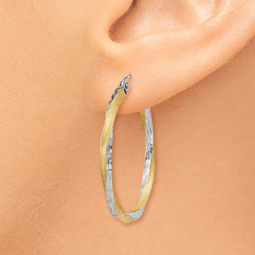 Mia Diamonds 14k Yellow Gold and Rhodium Diamond-cut 2.5mm Twisted Hoop Earrings