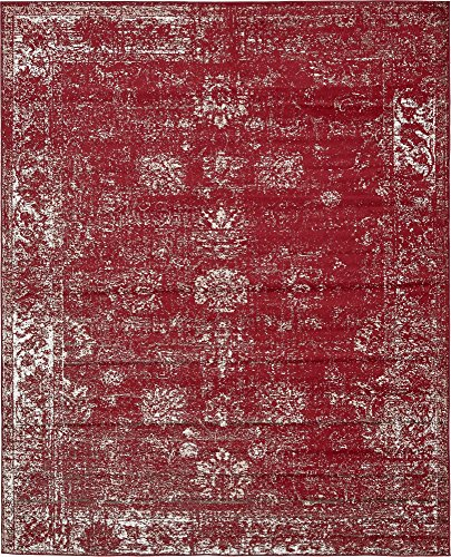 Unique Loom Sofia Collection Traditional Vintage Burgundy Area Rug (8' x 10') (Dark Rugs Red)