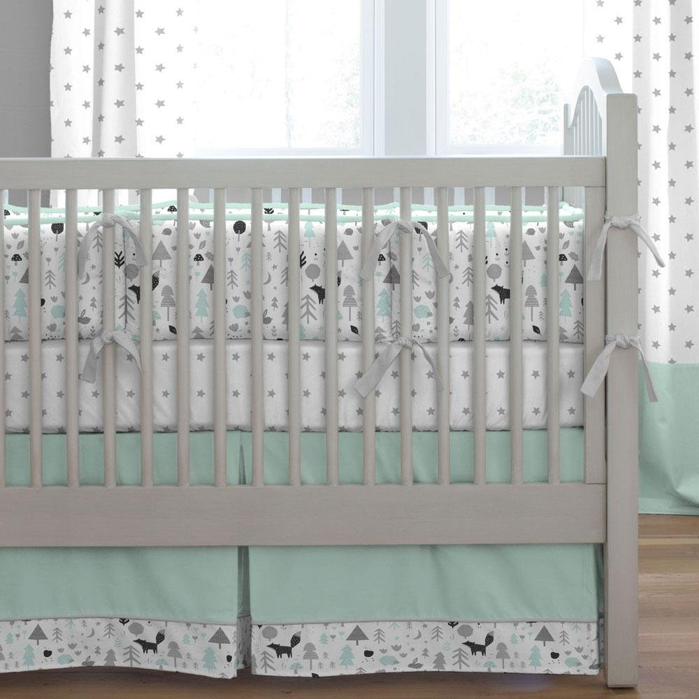 Carousel Designs Mint and Gray Baby Woodland Crib Skirt Box Pleat 14-Inch Length