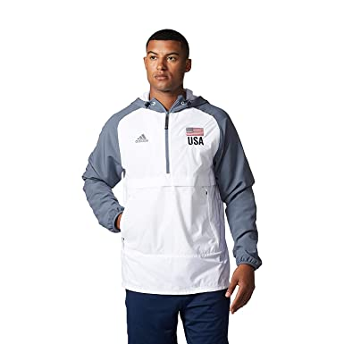 adidas Men's USA Volleyball Anorak Flag 14 Zip UP Hoodie WHITENEW