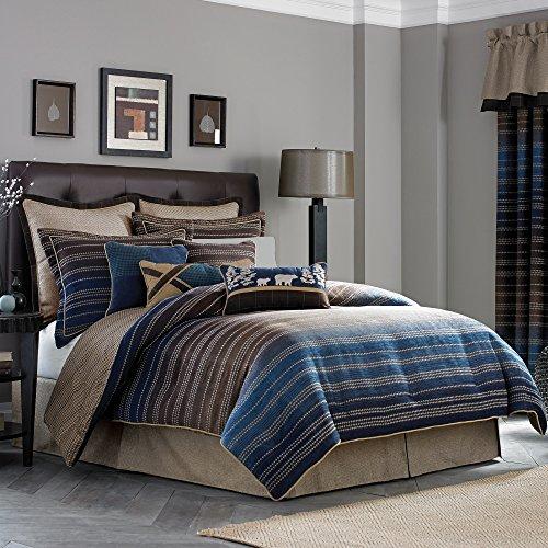 Croscill Jacquard Comforter (Croscill Clairmont Chenille Jacquard Woven Stripe 4-Piece Comforter Set Multi Queen)