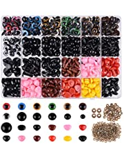ASTARON 1028 Pcs Plastic Safety Eyes and Noses Kit with Washers for Doll Plush Animal Craft Making,Assorted Size