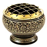 Beautiful Solid Brass Screen Burner with Golden Carving. Wood Coaster Is Included. An Artistic Carved Burner. (Black)