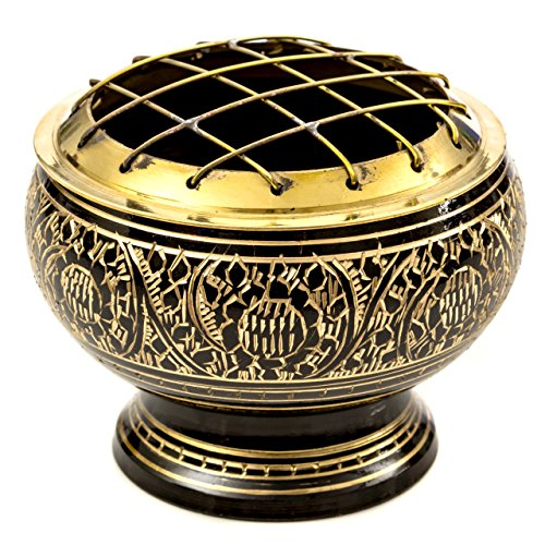 Alternative Imagination Beautiful Solid Black Brass Screen Burner with Artistic Carving and Wooden Coaster