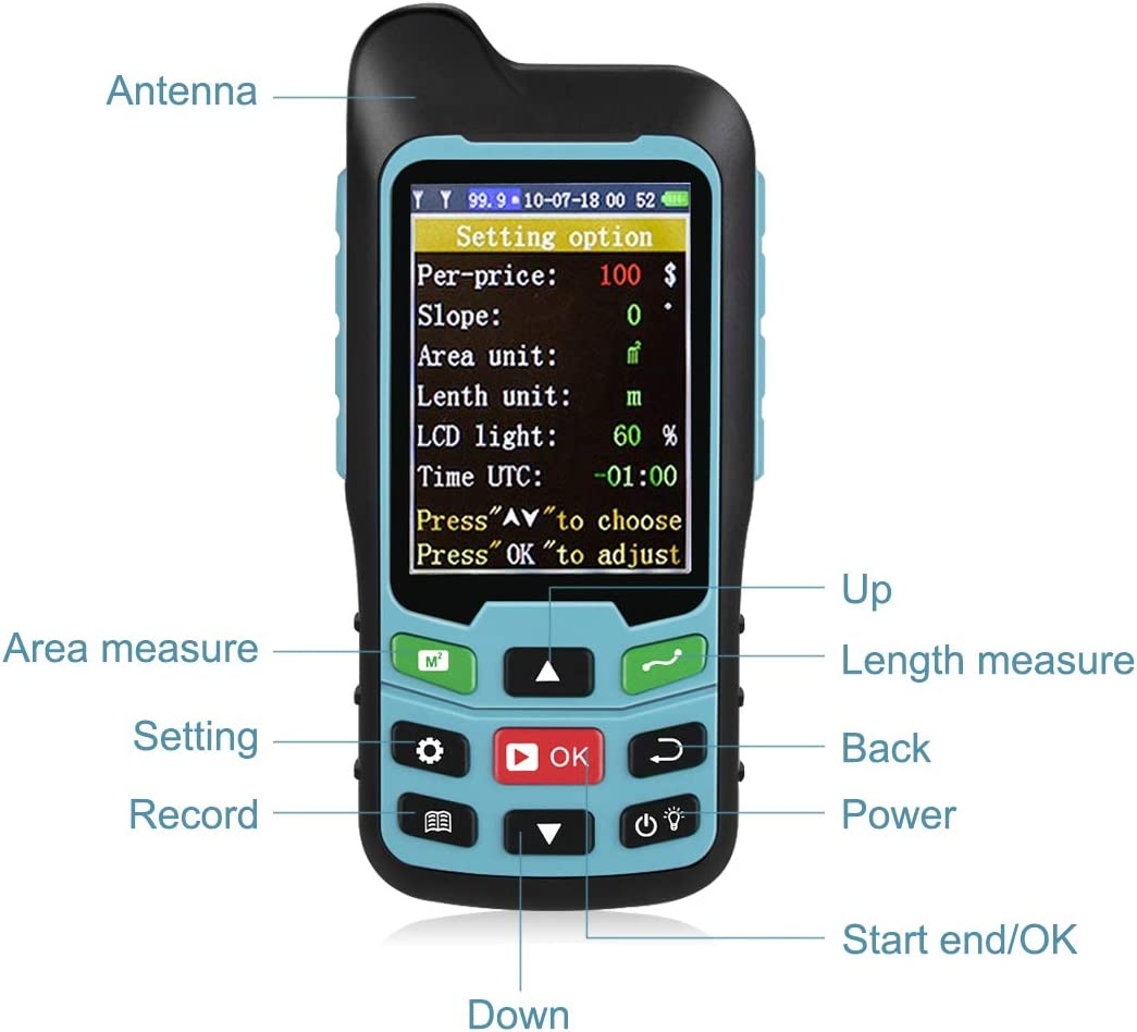 Te-Rich Handheld GPS GLONASS Land Area Measurer Calculation Meter