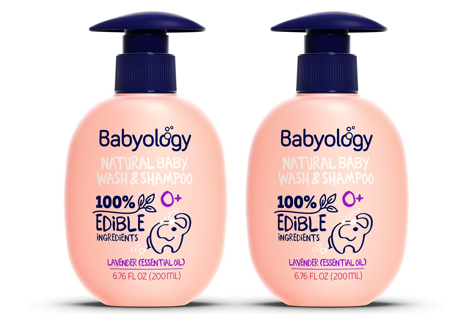 Babyology - 100% Edible Ingredients - Baby Wash & Shampoo – Organic Lavender (Essential Oil) - Clinically Tested - Tear-Free - 6,67 FL. OZ - Perfect Baby Shower Gift (2 Pack)