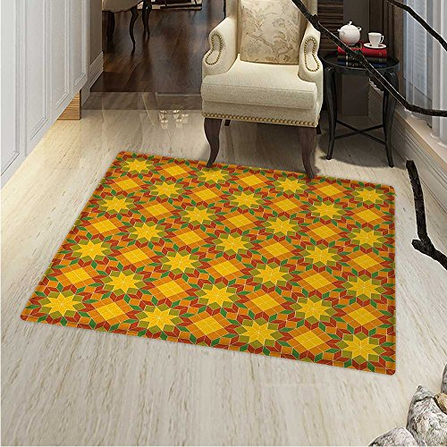 Floral Small Rug Carpet Ethnic Mosaic Moroccan Zellige Tile Pattern Traditional Oriental Flower Motifs Art Door mat Indoors Bathroom Mats Non Slip 2'x3' Multicolor