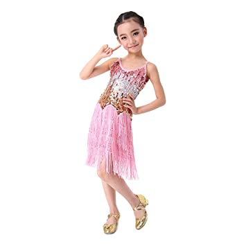 5a398ee89 Girls Latin Dance Dress, SymbolLife Children Kids Sequin Fringe Stage  Performance Competition Ballroom Dance Costume