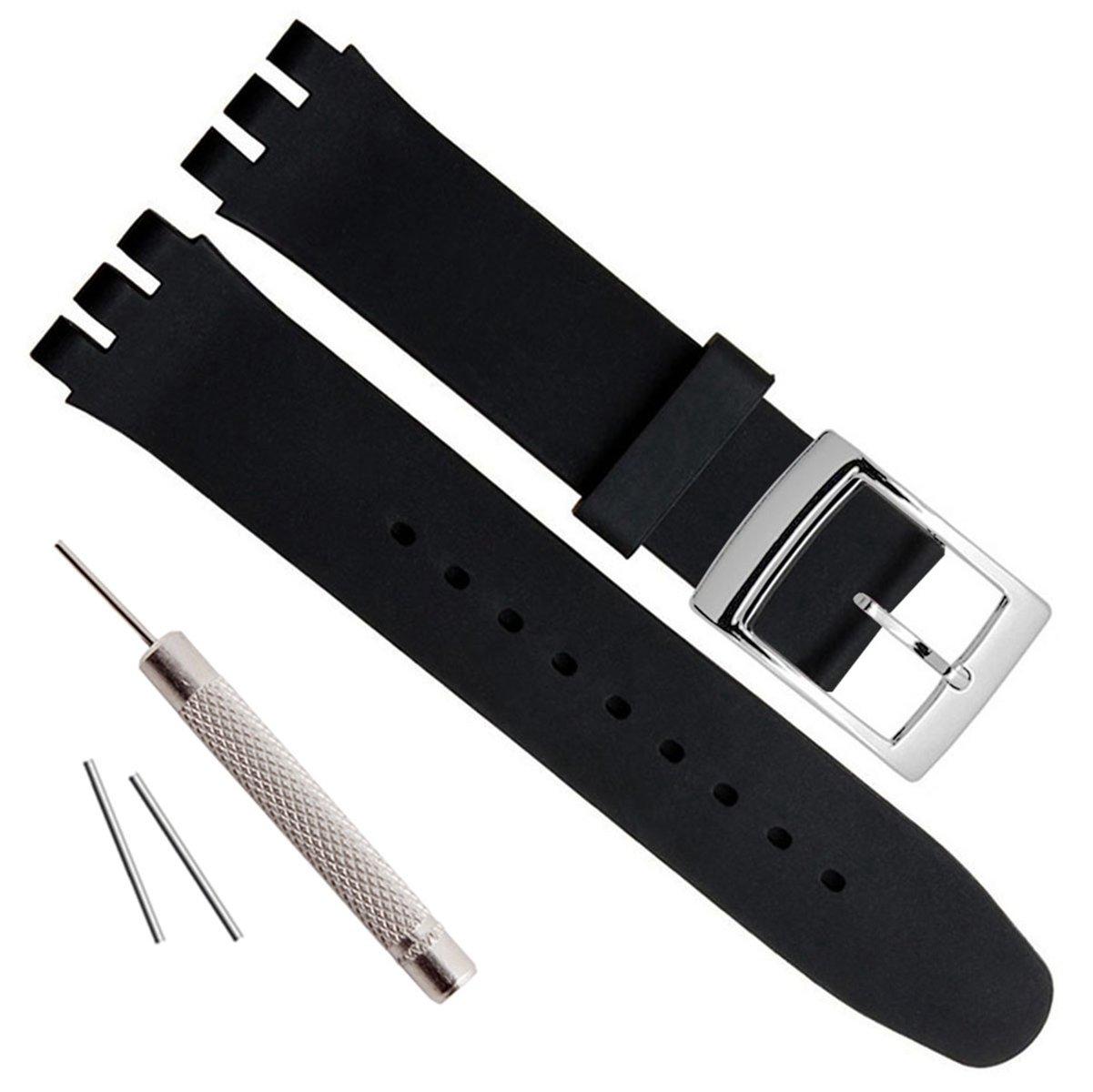 (グリーンオリーブ) Green Olive腕時計ストラップ 時計バンド 銀メッキステンレススチールバックル 防水 シリコンラバー製 17mm ブラック 17mm|ブラック ブラック 17mm B01F3C6W24
