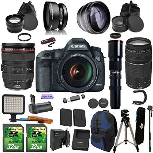 Canon EOS 5D Mark III + 24-105mm f/4L IS USM + 75-300mm + Preset 500mm Telephoto PagingZone Kit Includes, .43x Fisheye + 2.2x Telephoto + LED Light + 2 SD 32GB Card + Extra Battery & Charger