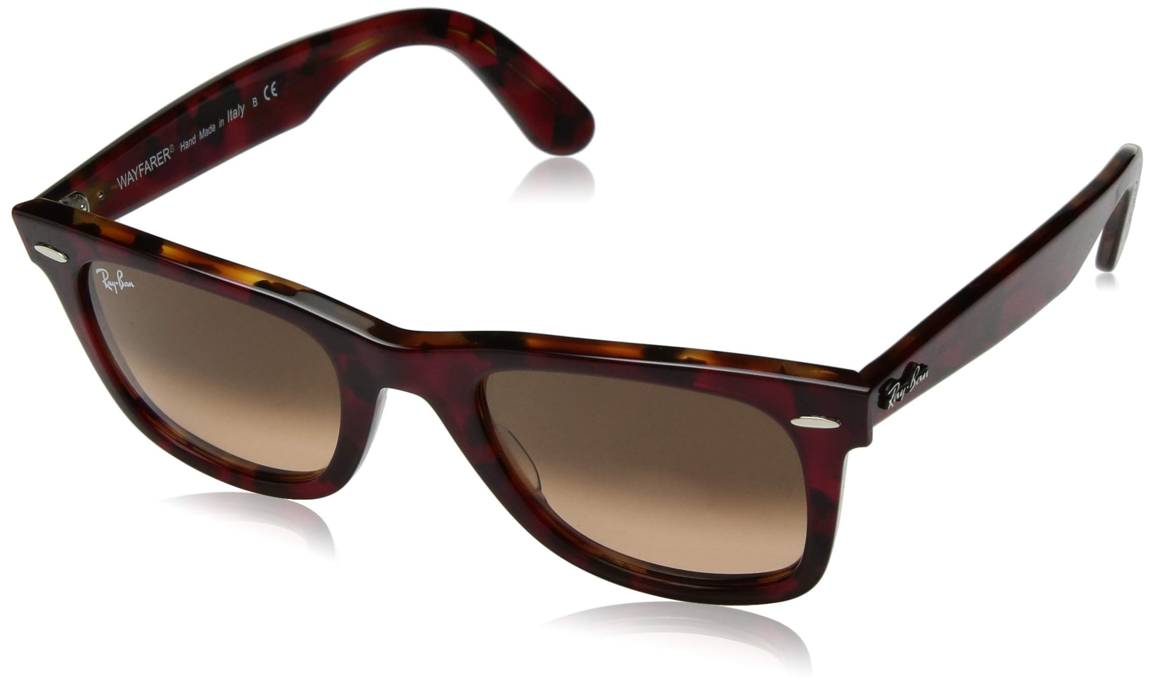 Ray-Ban RB2140 Wayfarer Sunglasses, Red Tortoise/Pink Gradient Brown, 50 mm by RAY-BAN