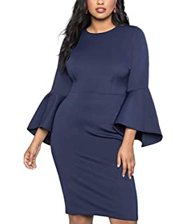 207967a8c45 Diukia Women s Plus Size Flare Sleeve Bodycon Pencil Business Scuba Sheath  Party Formal Dress(XL