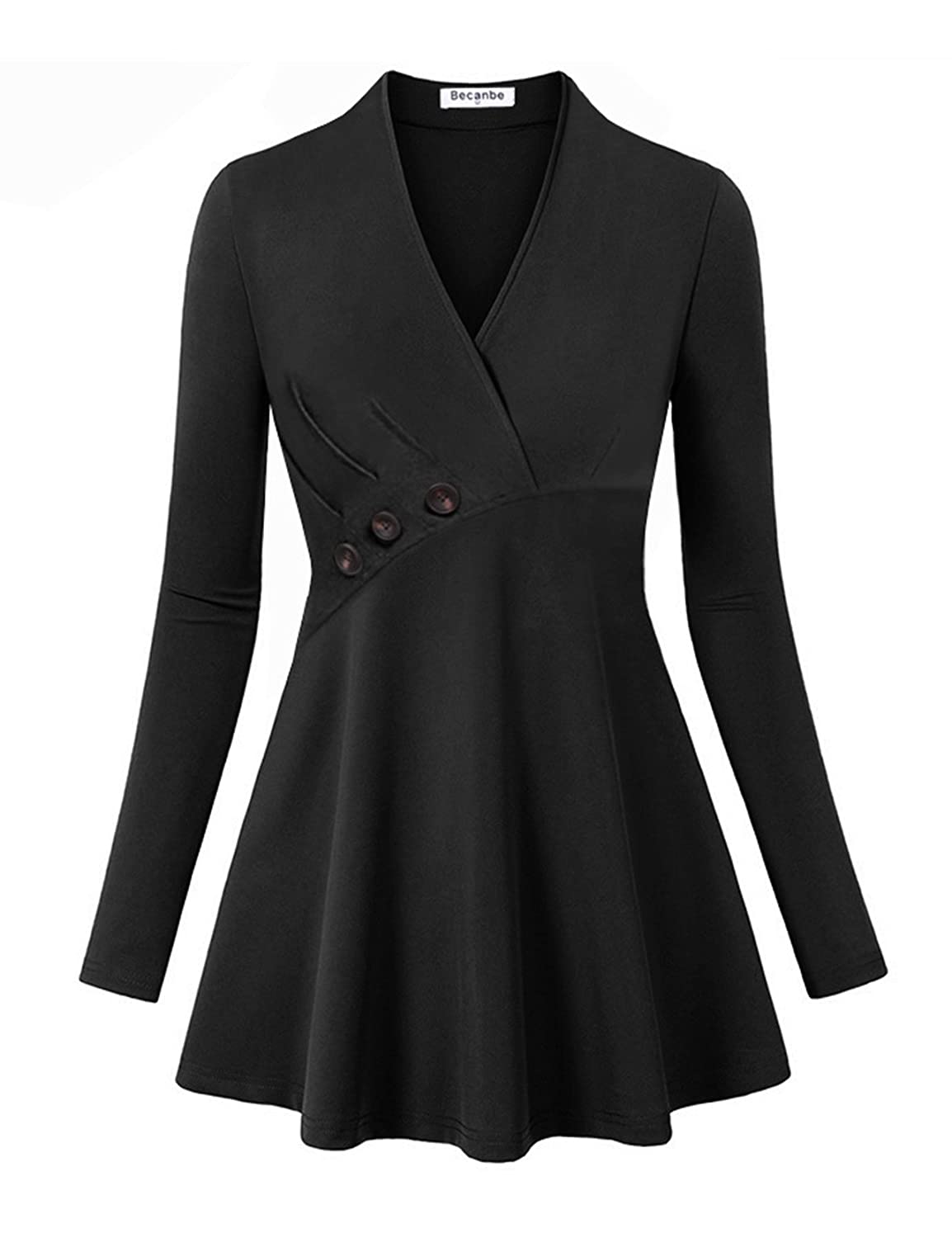 Vintage Coats & Jackets | Retro Coats and Jackets Becanbe Womens Long Sleeve V Neck Empire Line Tunic Top $25.99 AT vintagedancer.com