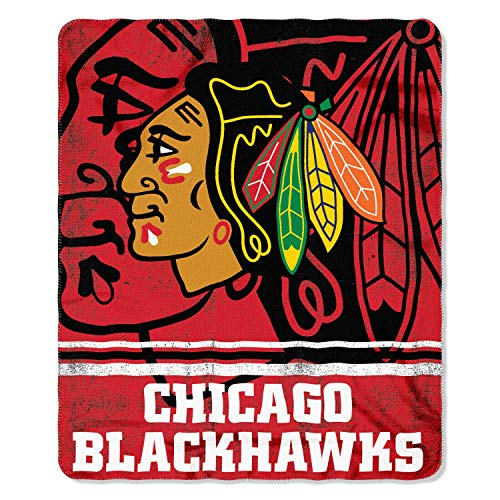 The Northwest Company NHL Chicago Blackhawks Fade Away Printed Fleece Throw, 50-inch by 60-inch