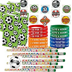 Soccer Party Favors for 24 - Soccer Pencils (24), Soccer Wrist Bands (24), Soccer Tattoos (72), Soccer Theme Gift Bags (24) and Happy Birthday Sticker (Total 145 Pieces)