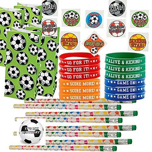 Soccer Party Favors for 24 - Soccer Pencils (24), Soccer Wrist Bands (24), Soccer Tattoos (72), Soccer Theme Gift Bags (24) and Happy Birthday Sticker (Total 145 Pieces) -