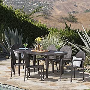 Ashwood Outdoor 7 Piece Multibrown Wicker Dining Set with Aluminum Framed Stacking Chairs