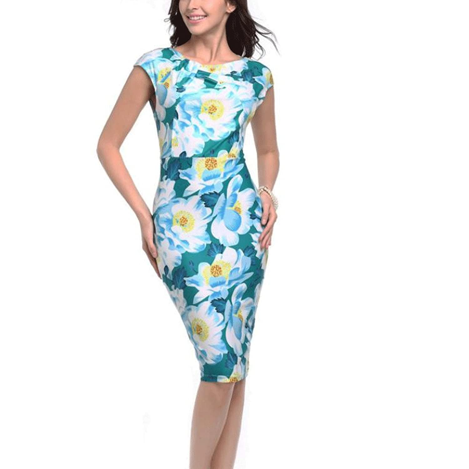 Misaky Lady Dress, Floral Pattern Business Casual Work Party Pencil ...