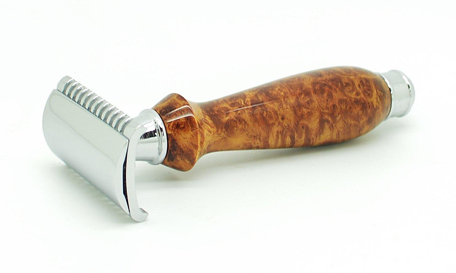 ORCHID ISLE~Double Edge Safety Razor *Open Comb* DE-PRL~USA Handmade with~ Exhibition Grade Southeast Asian Maidou Amboyna Eye Burl *870