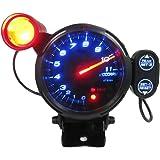 Docooler Automotive Car 3.5 Inches 0-11000 RPM Tachometer Gauge Kit Blue LED Auto Meter with Adjustable Shift Light & Stepping Motor - Black