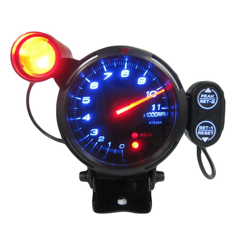 KKMOON 3.5 ' Kit Tachymè tre Gauge LED bleue 11000 RPM avec ré glable Shift Light + Stepping Motor noir