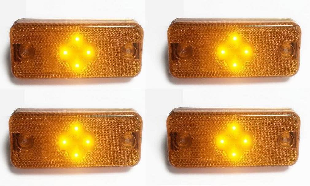 arancione ambra 24 V 4 LED per trailer caravan camion autocarro chassis Luci di posizione laterali sagomate confezione da 10 pezzi colore